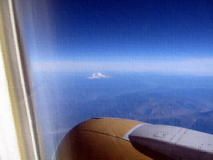 photo of Mt. Rainer from a plane